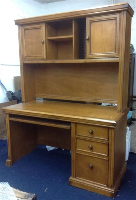 Lot Detail Handsome Wood Desk With Keyboard Drawer Desk With Hutch And Drawers