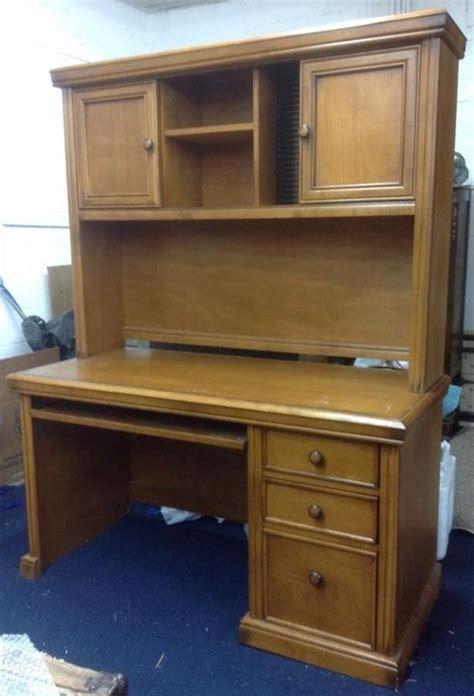 lot detail handsome wood desk with keyboard drawer