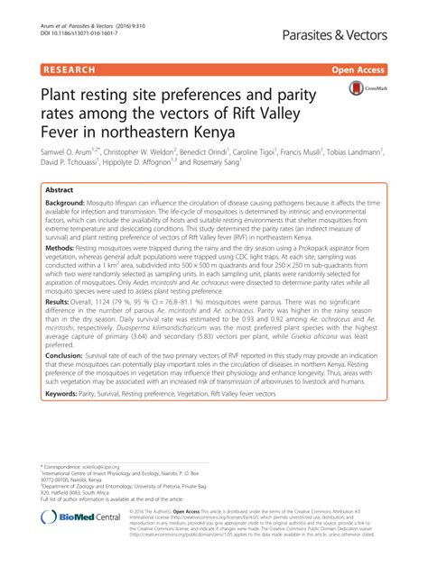 Rift Valley Universty Mba Reserch Pdf by Plant Resting Site Preferences And Parity Pdf