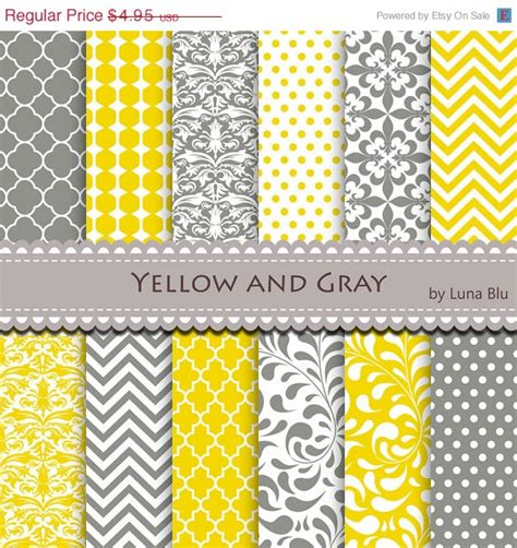 yellow patterned craft paper new item added to my shop yellow and gray digital paper