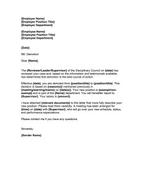 demotion letter template free printable documents