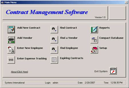 Contract Management Mba Degree by Contract Management Software 1 0 0 Screenshots