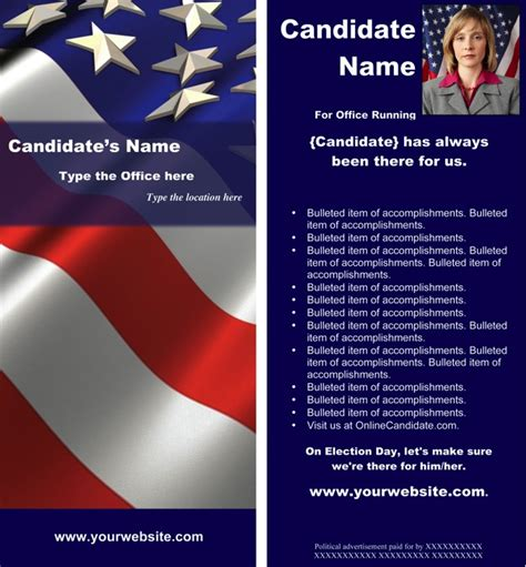 political flyer template free political print templates white and blue theme word candidate