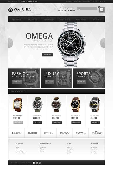 wrist watches store opencart template web design