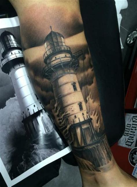black and grey lighthouse tattoo 35 awesome lighthouse tattoos on legs
