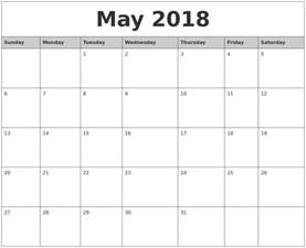 Calendar 2018 Printable Monthly May 2018 Monthly Calendar Printable
