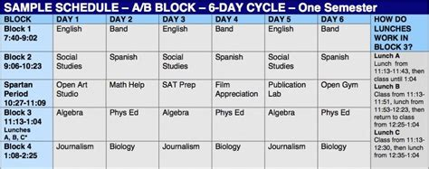 block schedule template the spotlight new on the block southern lehigh