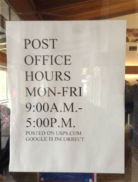 Post Office Hours by Sausalito Post Office Oursausalito