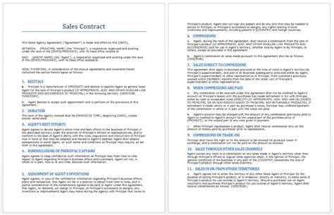 business sales contract free printable documents