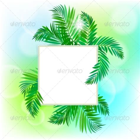 Palm Card Template Photoshop by Square Card With Palm Leaves Graphicriver