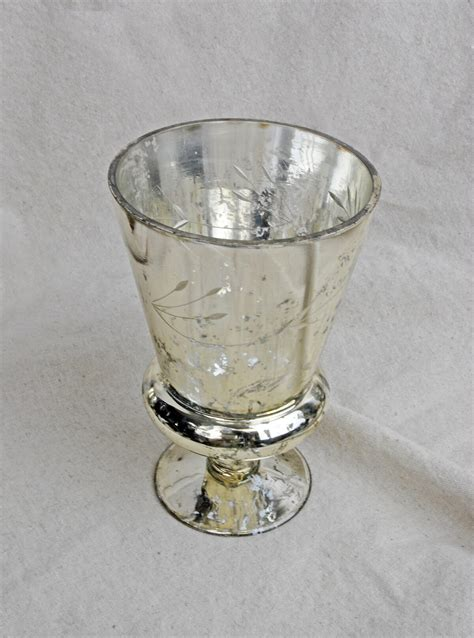 Mercury Glass Flower Vase by Mercury Vase Glass Tapered 6 75in