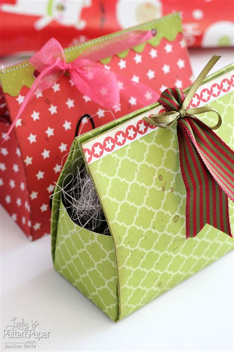 diy christmas gift boxes lady pattern paper scrapbooking
