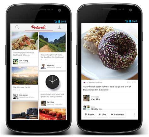 pinterest app layout pinterest releases apps for android smartphones tablets