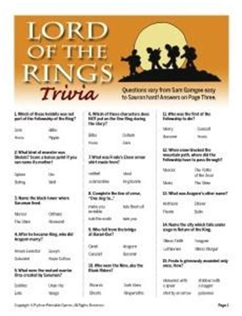 Lord Of The Rings Trivia Printables