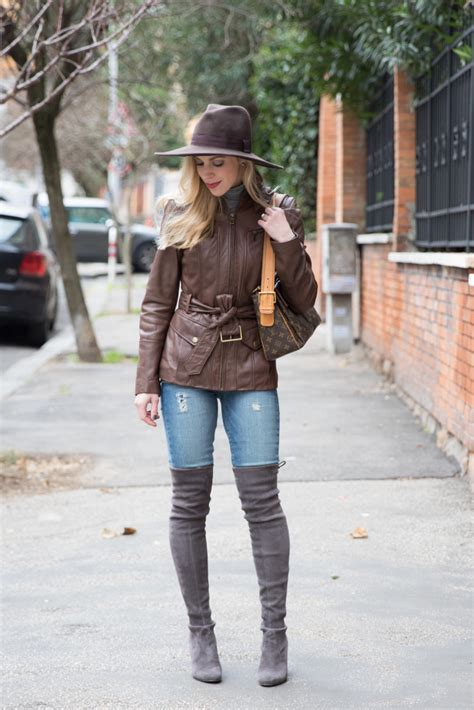 neutral textures panama hat leather jacket suede boots