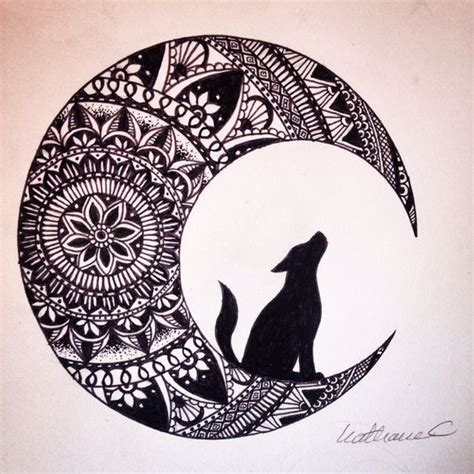 image result for drawing zentangle moon and wolf art