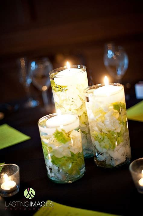 wedding reception decor, candles, floating candles, candle