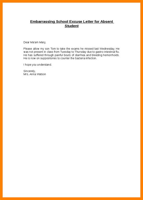 Formal Letter Format Absent Class 6 Excuse Letter For Absence In College Fancy Resume