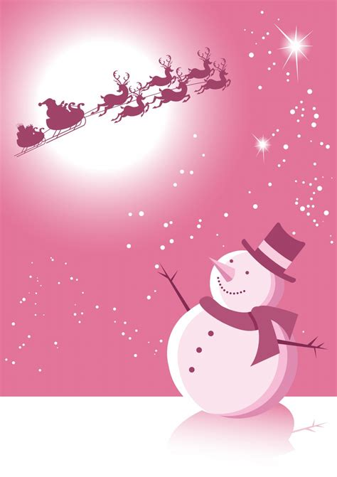 pink winter scene with snowman and santa christmas