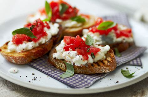 healthy snacks with cottage cheese tomato crostini topped with cottage cheese tesco real food