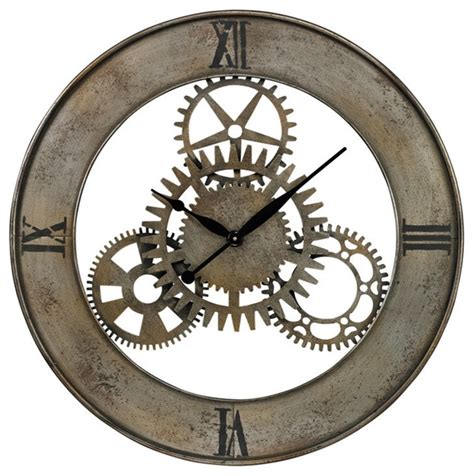 industrial wall clock sterling industries 26 8666 industrial cog wall clock