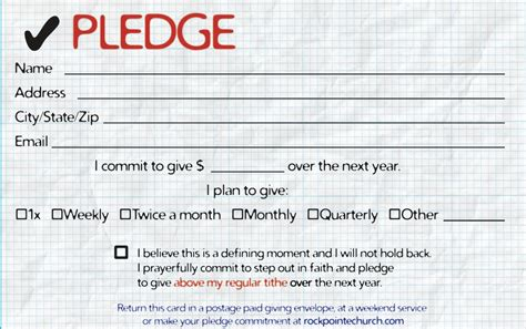 church pledge letter sample