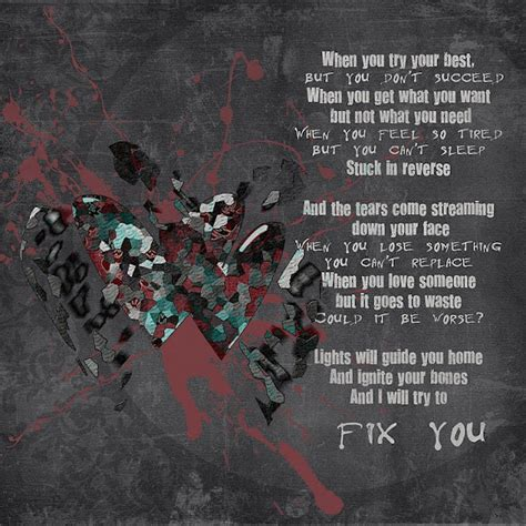 coldplay fix you lyrics meaning coldplay fix you song has more meaning to me than