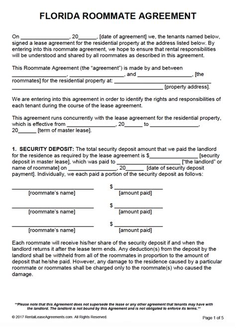 free florida roommate agreement form
