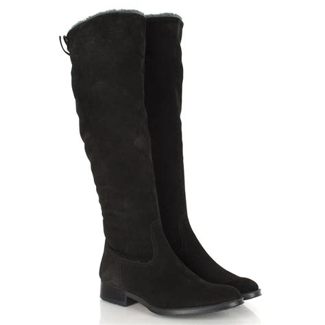 lamica black suede s flat knee boot