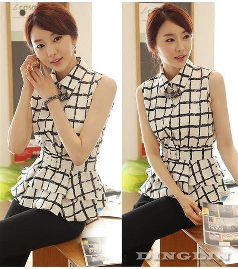 aliexpress korea women korean fashion sleeveless turn down collar chiffon