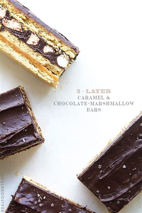 Mini 3layer 3 layer caramel and chocolate marshmallow bars food