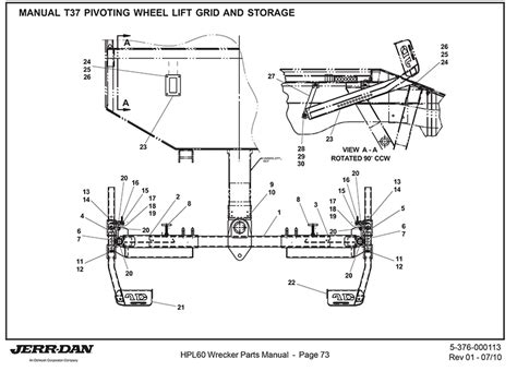 tow truck parts diagram jerr dan manual t 37 pivoting wheel lift grid and storage