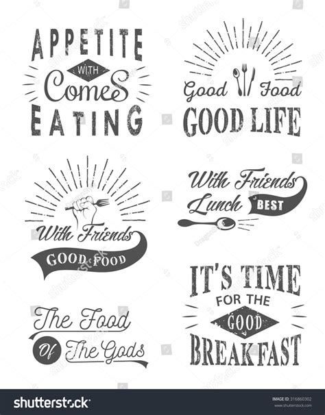 typography quotes vector set vintage food typographic quotes vector stock vector 316860302