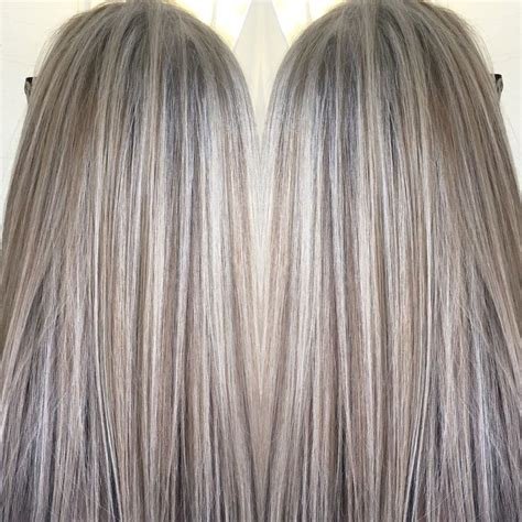 painting lowlights on gray hair blended blonde highlights and lowlights by april hills
