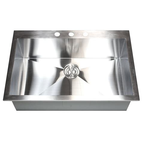 33 inch top mount drop in stainless steel single