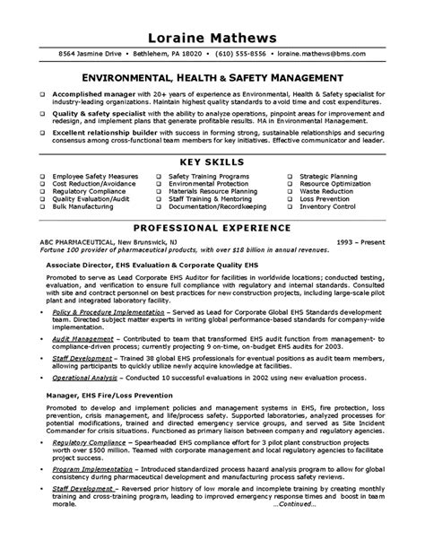 safety resume sle exle