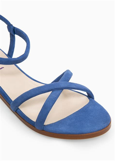 blue sandals lyst violeta by mango suede flat sandals in blue