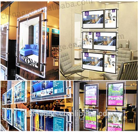 hanging light box display estate agents acrylic led hanging window display