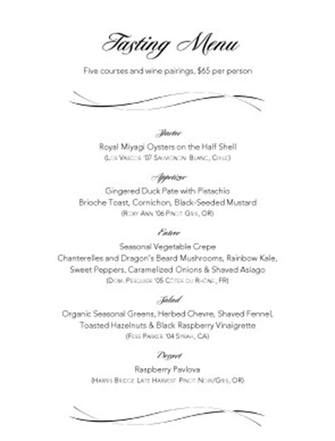 wine dinner menu template wine pairings tasting menu menu