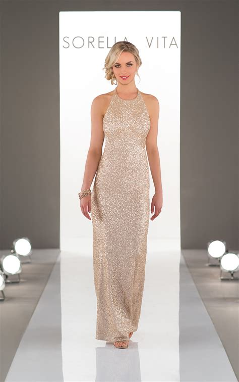 Dress Virda by Bridesmaid Dresses High Neck Sequin Bridesmaid Gown