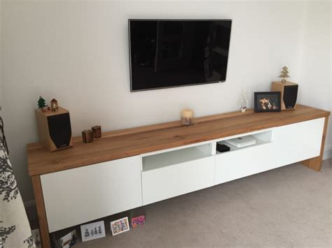 besta hack best 197 tv unit with oak wrap around ikea hackers ikea
