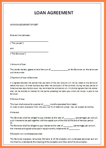 6 sle personal loan agreement template purchase