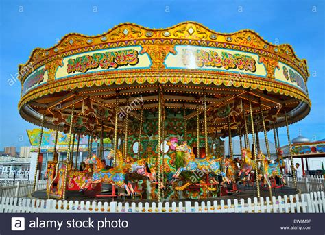 carousel on palace pier brighton east sussex uk stock
