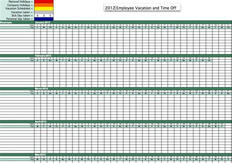 vacation template excel 2016 employee vacation tracking spreadsheet calendar