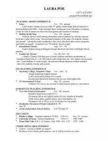 Exle Of Teaching Resume by Teaching Resume Artist Experience Cover Letters That Stand Out