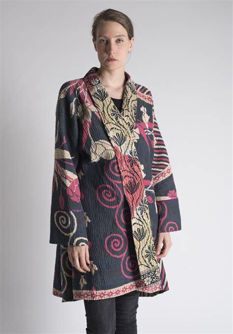 pink and black patterned kimono mieko mintz floral patterned long kimono kantha jacket in