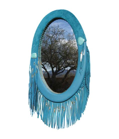 Oval Office Decor History western style leather frame oval mirror with fringe