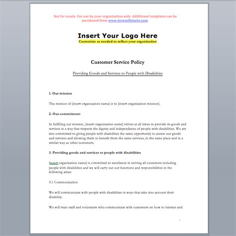 aoda policy template customer service standard policy template accessibility