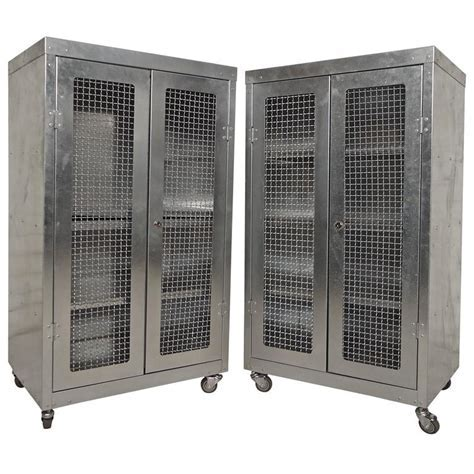 Pair of Mesh Front Metal Cabinets For Sale at 1stdibs