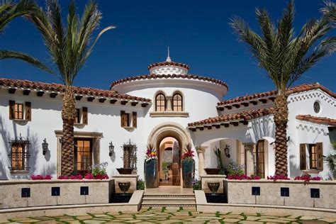 Spanish colonial revival architecture exterior mediterranean with rafter tails hung front doors